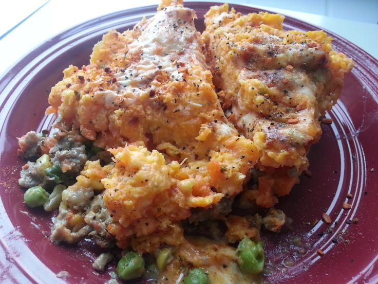 Sweet Potato Shepard's Pie with Ground Turkey. No recipe link...