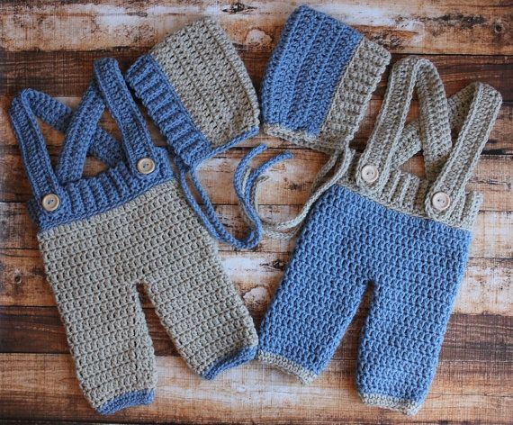 Crochet Hat Patterns For Twin Babies : Crochet TWINS boys Pixie hats and Adjustable Suspender ...