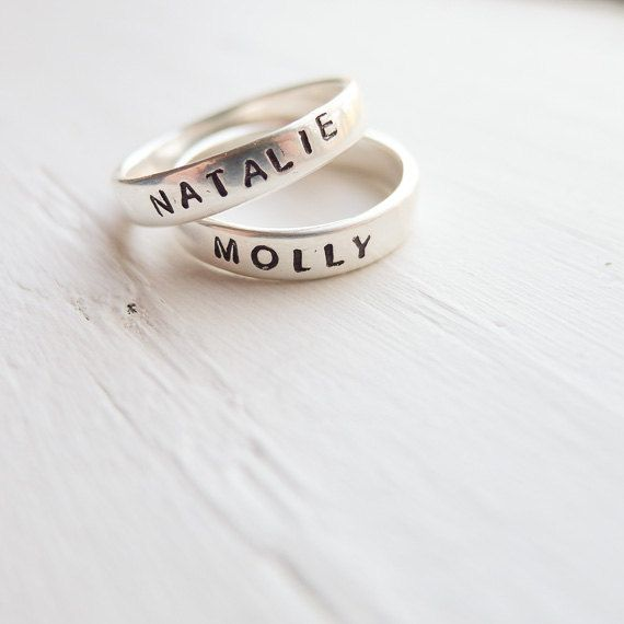 personalized ring sterling silver name rings
