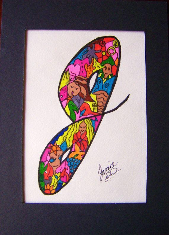 Personalized Initial Letter J Art Original Design by janicewd, $35.00