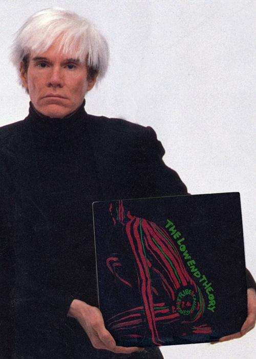 "Andy Warhol holding A Tribe Called Quest's ""The Low End Theory"" vinyl. (He passed a few year before this LP was actually created but this is still dope nonetheless)."