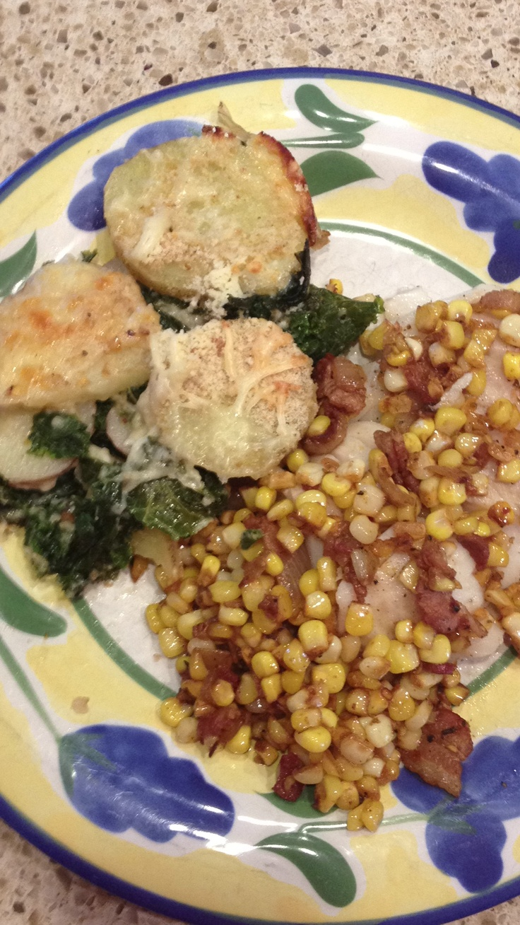... is served (cod w/ corn and bacon sautée & kale and potato gratin