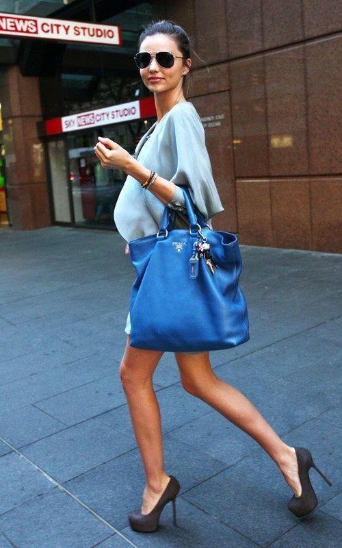... Kerr carrying a Prada Daino Tote Bag in cobalt blue #StreetStyle