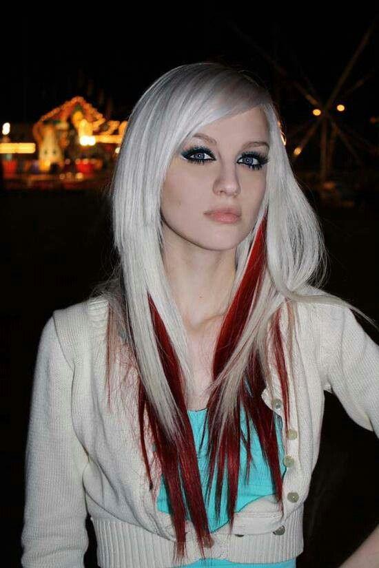 Blonde With Red Peekaboo Highlights  Hair  Peekaboo Highlights  Pinterest