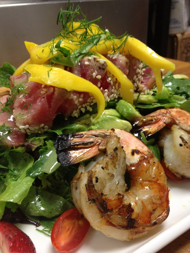 Grilled Shrimp and Tuna with mixed greens, mango, avocado and dill ...