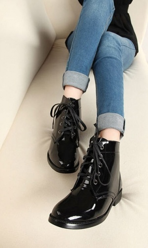 Shiny Lace Up Women Martin Ankle Boots on BuyTrends.com, only price
