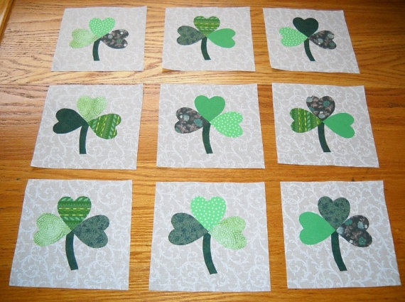 9 Scrappy St Patrick Green Shamrock Quilt by MarsyesQuiltShop, $13.95