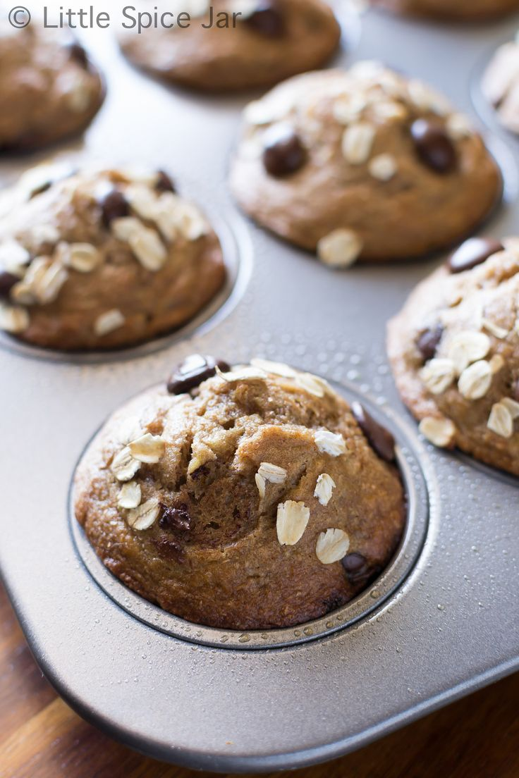 HEALTHY CHOCOLATE CHIP BANANA MUFFINS - Little Spice Jar