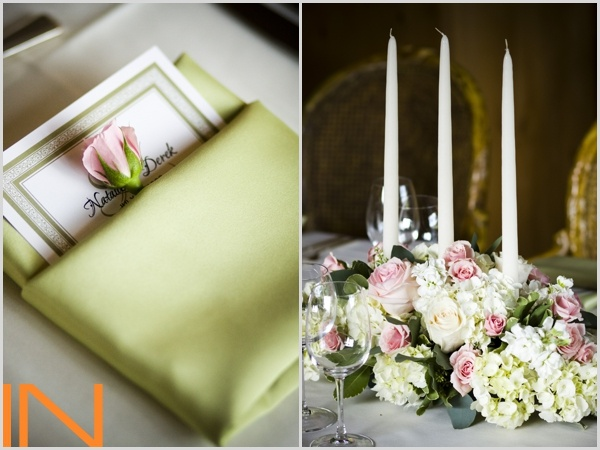 Green and pink wedding details