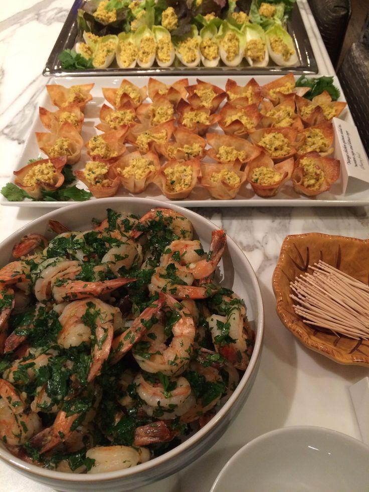 Sautéed shrimp with garlic and parsley.
