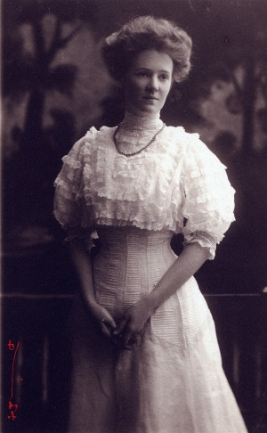 Wedding portrait of Elizabeth Coughlin Young. (1907)