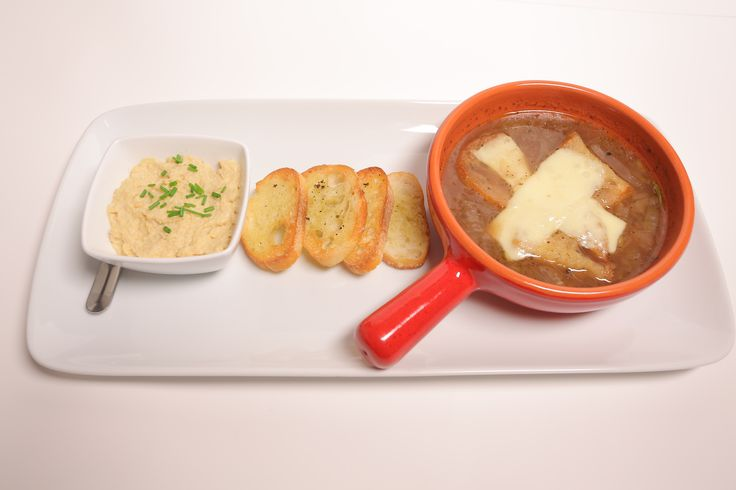 French Onion Soup with Crostini and Lemon Garlic Hummus