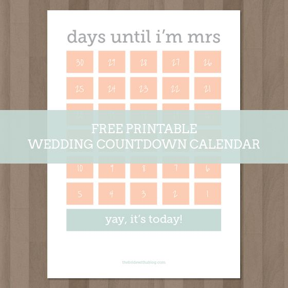 Wedding Countdown Calendar   New Calendar Template Site