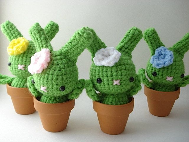 Amigurumi Cactus And Flower Crochet Pattern : Amigurumi Bunny cactus Rabbit crochet Pinterest