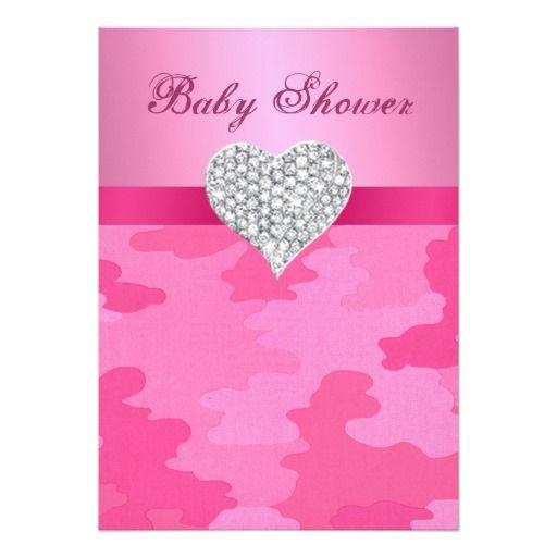 pink camo diamond heart baby shower invitation