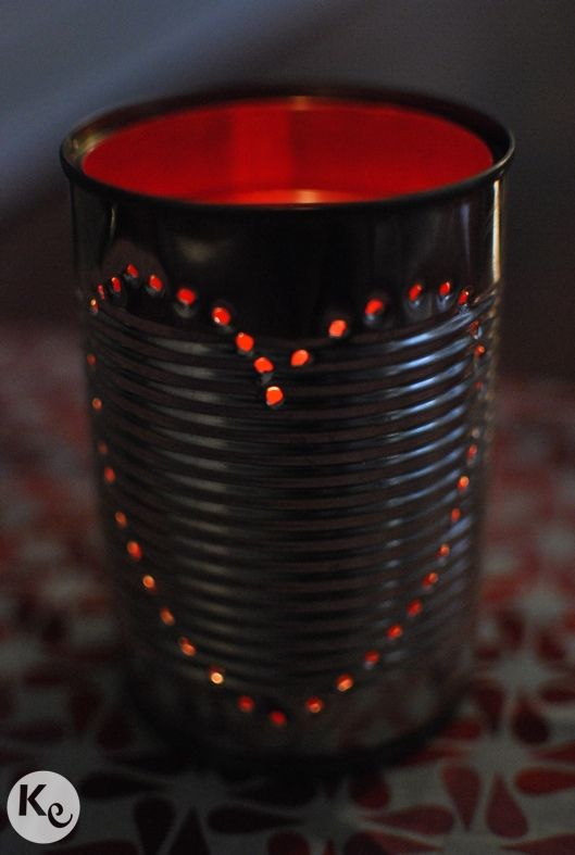 diy tin can candle holder shabby home pinterest
