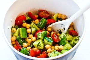 Cucumber and Tomato Salad with Marinated Garbanzo Beans and Herbs