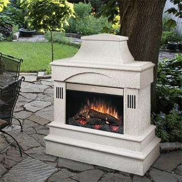 electric outdoor fireplace deck