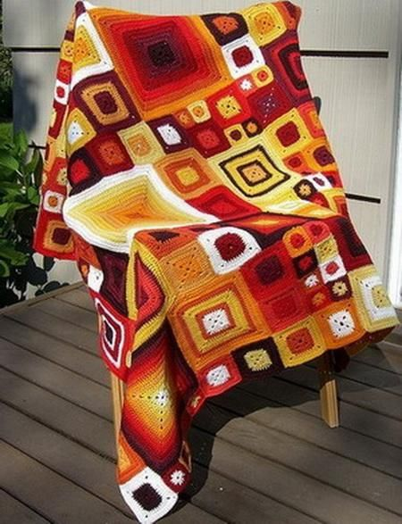 Crochet Throws: Colorful Throw Blanket - Warm Crochet Blanket - Babette Blanket