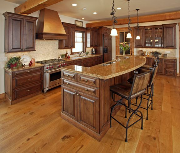 Kitchen islands with raised breakfast bar cabinets steamboat springs