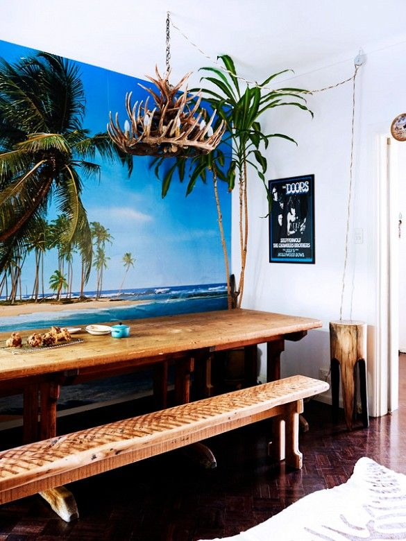 Shop the Room: A Totally Rad Surf Shack // The Design Files, wall mural