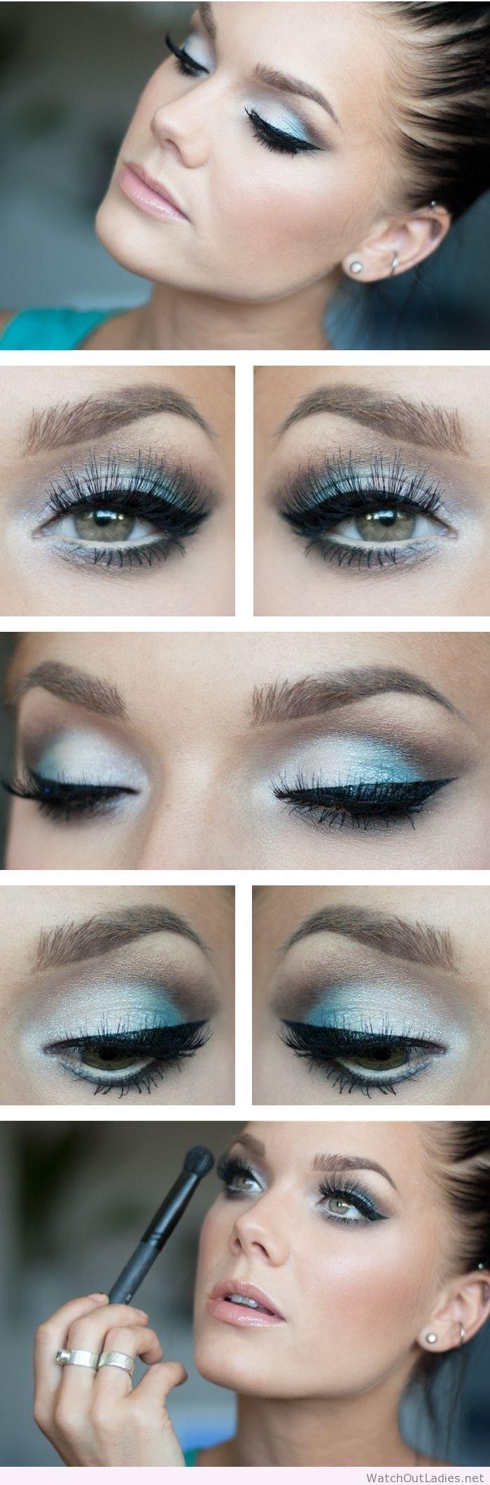 Макияж зеленых глаз под синее платье