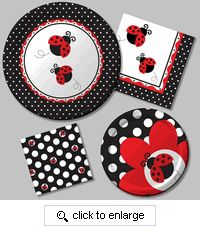 Very cute ladybug 1st birthday supplies at this site!