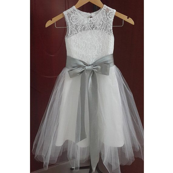Girl dresses white and grey flower girl dresses white and grey mightylinksfo Choice Image
