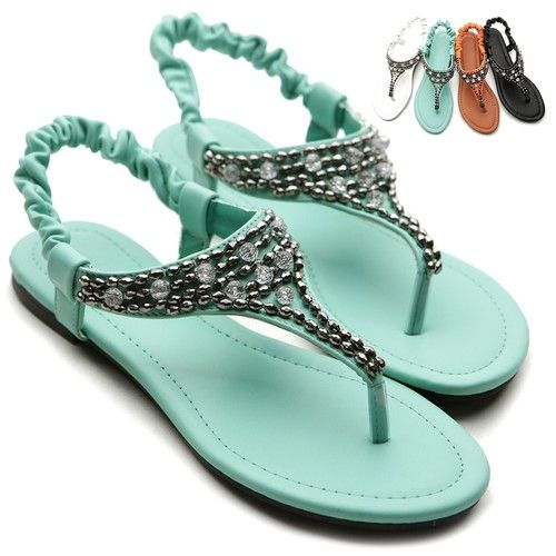 ollio Womens Shoes Crystal Beads Thong Elasticized Ankle Strap Sandals