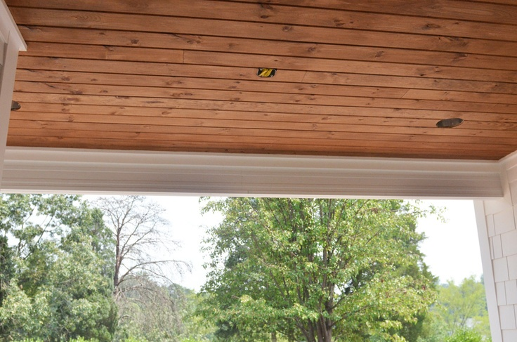 cheap ceiling ideas for screened in porches - porch ceiling stained pine BACKPORCH