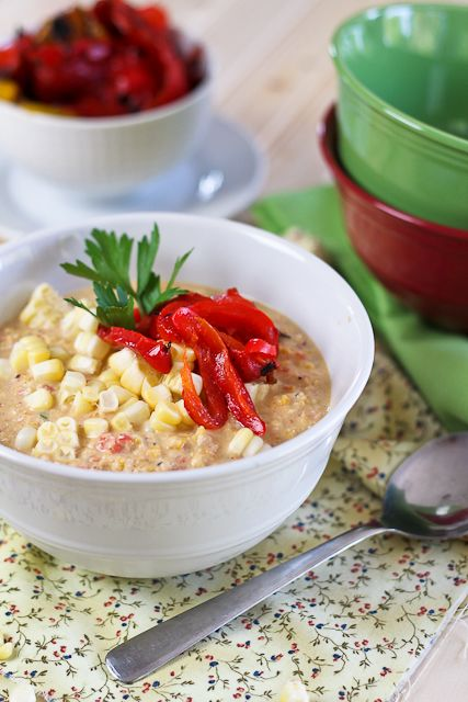Roasted Bell Peppers and Raw Corn Chowder   Recipe