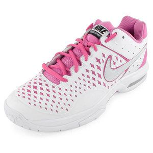 The Nike Women's Air Cage Advantage Tennis Shoes White and Red Violet