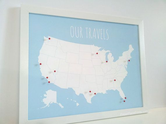 Travel Map Pin Board, USA Pinnable Map - DIY Kit with Pins, Red or ...