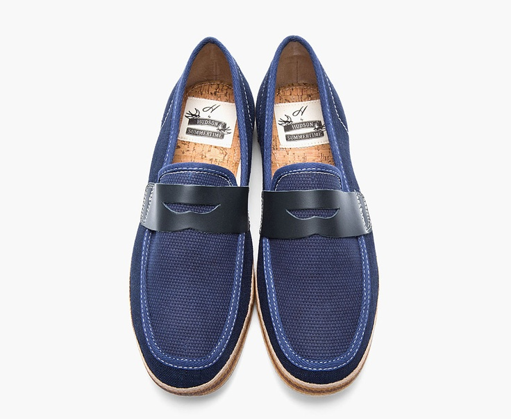 By hudson navy blue canvas and leather antara penny loafers