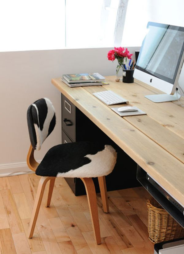 20 DIY Desks That Really Work For Your Home Office I really like the simplicity of this desk... and the mix of the wooden top and the black filing cabinet