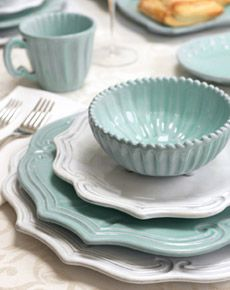 yes to this lovely coastal nautical china for a lovely sweet beachy table dressing... love the light aqua blue to this and the fluting, yum to sit here at a table dressed like this for dinner on my tatty old deck