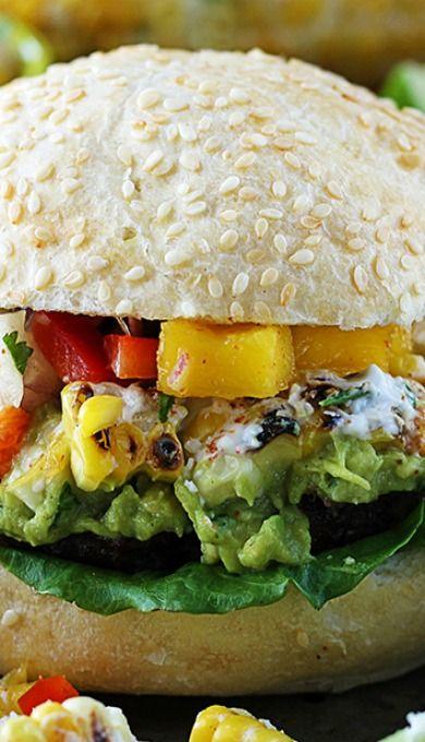 Guacamole Burgers with Roasted Corn & Mango Red Pepper Salsa | Recipe