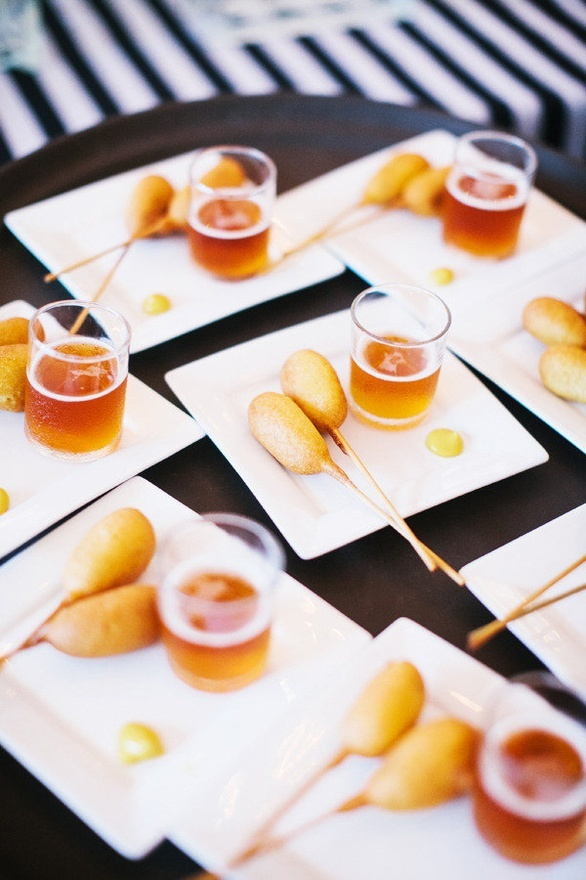 Mini Corn Dogs Paired with a Shot of Beer Photography by katiestoops ...