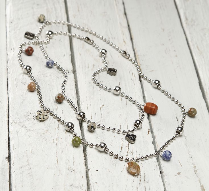 DIY Ball Chain Double Necklace with Beads and Danglers