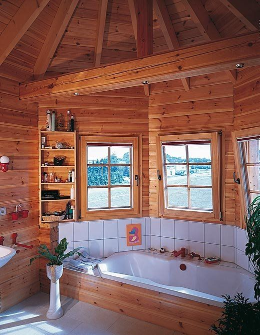 Log cabin bathroom log cabins pinterest for Log cabin bathroom design ideas