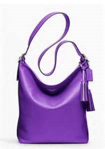 Coach Large Legacy Leather Duffle Ultraviolet Purple Zip Bag Handbag ...