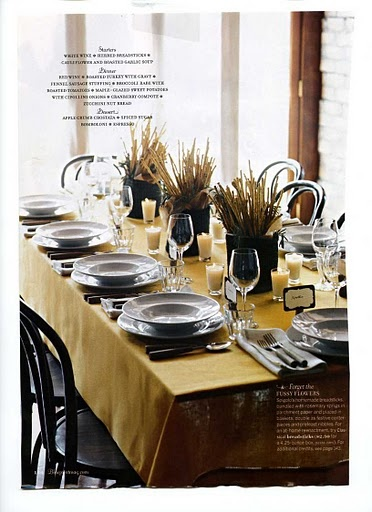 A modern yet casual look is created by pairing autumn gold with a neutral such as gray Concentrating most of the color to the table cloth gives the scene a cohesive feel with little need for ornamentation