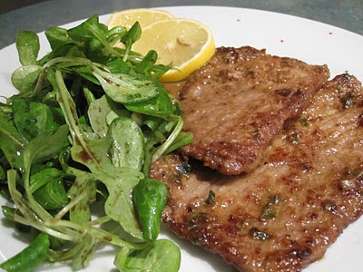 Veal Scaloppine with lemon (Marcella Hazan) I substitute chicken ...
