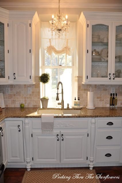 kitchen Granite countertops, paint cabinets white, tumbled marble