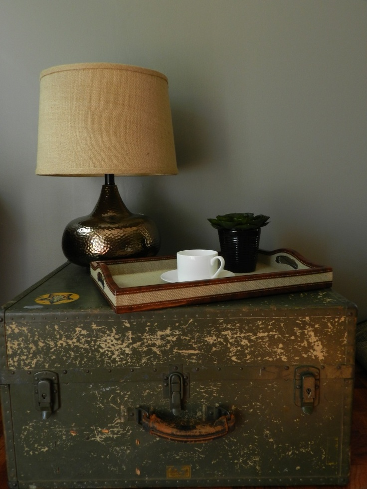 Vintage military trunk, and love the lamp