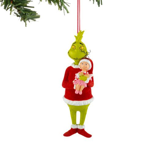 Happy Grinch Holding Cindy Lou Who Ornament