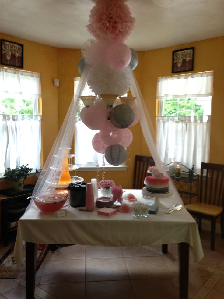 Gray and pink baby shower decorations shower pinterest for Baby shower decoration pictures