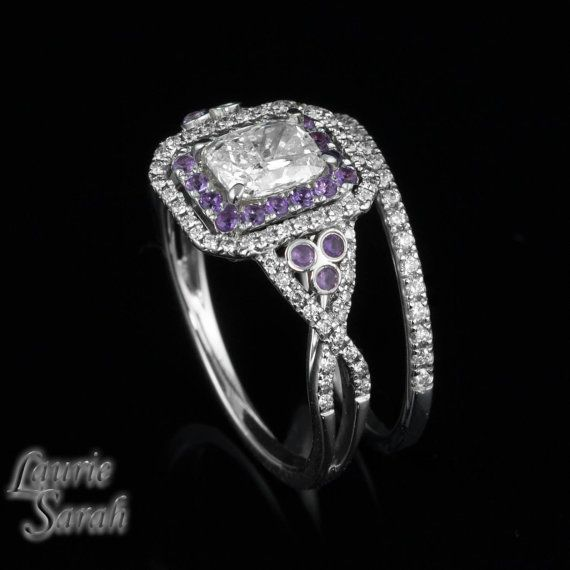 1 carat Rectangle Cushion Cut Diamond Engagement Ring with Amethyst a…