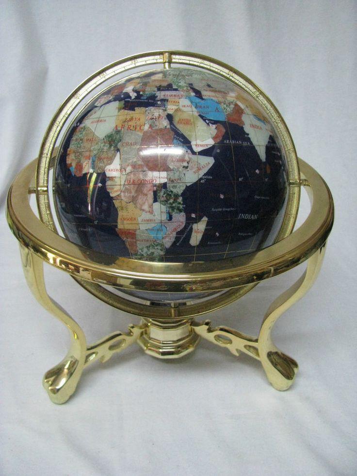 blue lapis semi precious gemstone world globe in a footed