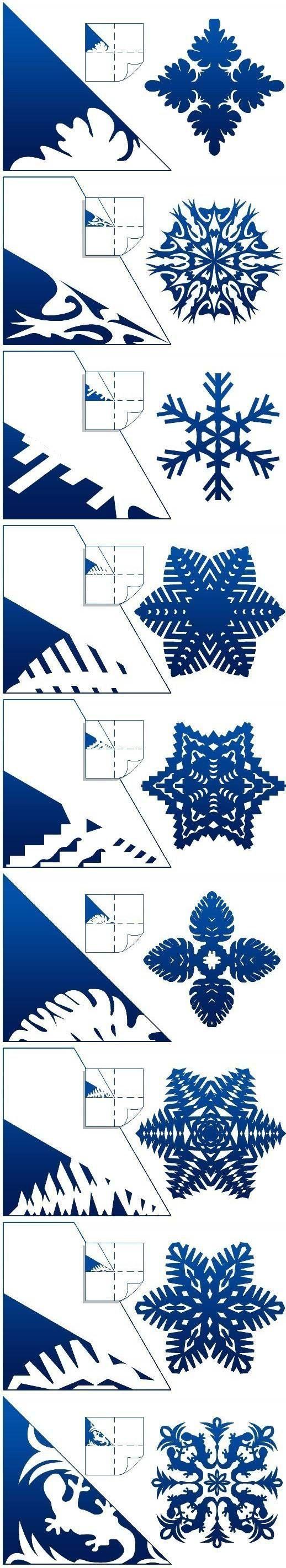 Распечатать схемы снежинок на бумаге